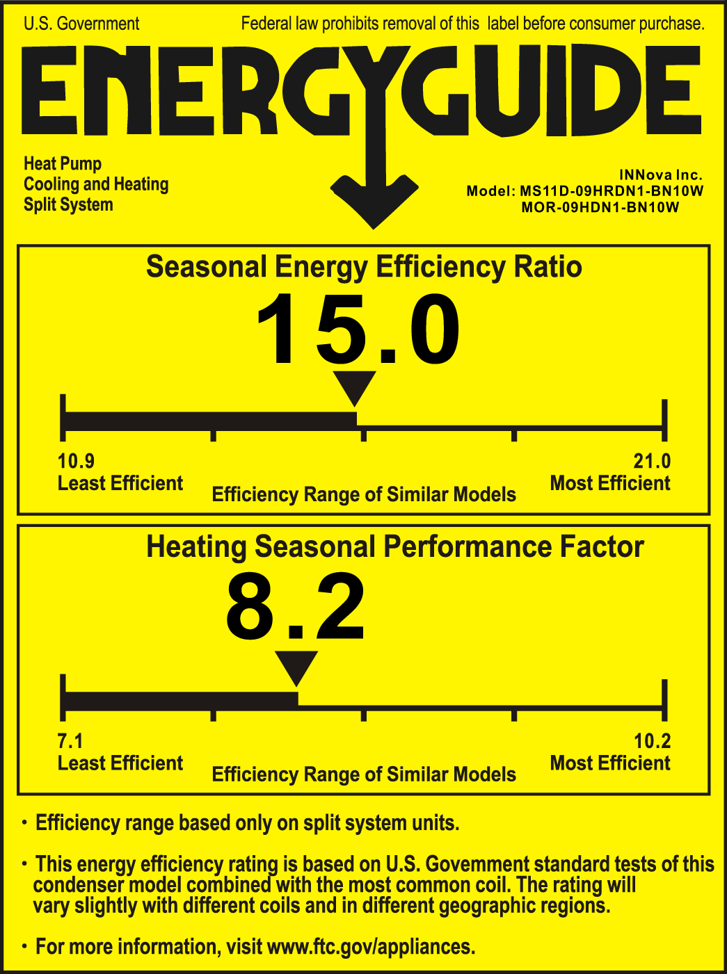 Click here for the 9,000 Innova Inverter A/C energy guide